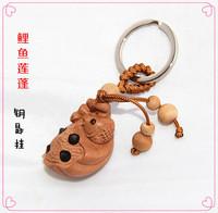开光桃木鲤鱼莲蓬钥匙扣 把件青蛙莲蓬连年有余 富贵得子招财助运