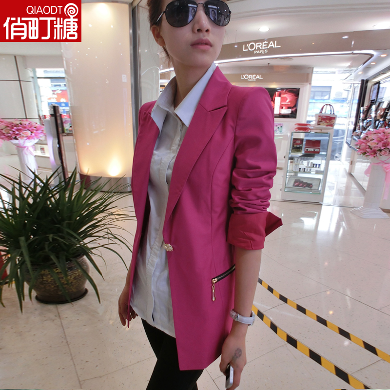 俏町糖 2014秋装新款韩版  小西装女外套 韩版修身长袖西服中长款