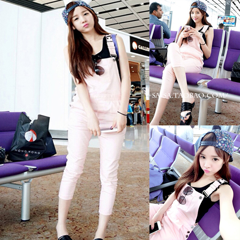 Женские брюки Рекомендуемые нераспределенной корейской версии чиби Маруко 2014 новые летние платья тонкий конфеты цветные случайные нагрудник D9
