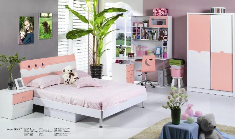 淡粉色儿童卧室家具 床+床头柜+推拉门衣柜+转角书柜L