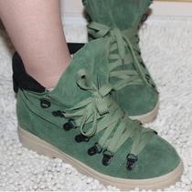 2012秋新款绒面女鞋韩版休闲马丁靴系带铆钉圆头内增高短靴子女靴