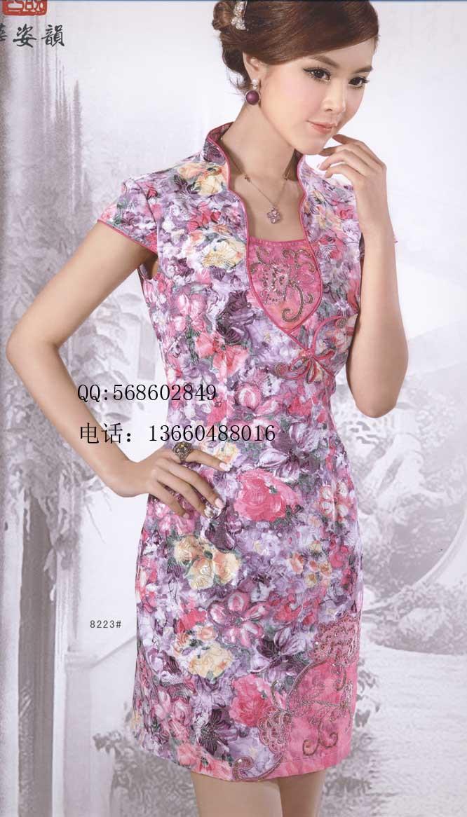 Платье Ципао Корона престиж huazi рифма улучшена китайский, оплакивая одежды лето Мода короткие cheongsam платье 8223 спец