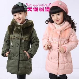 女童棉衣新年童装冬装新款韩版棉袄棉服长款儿童棉衣天使城堡
