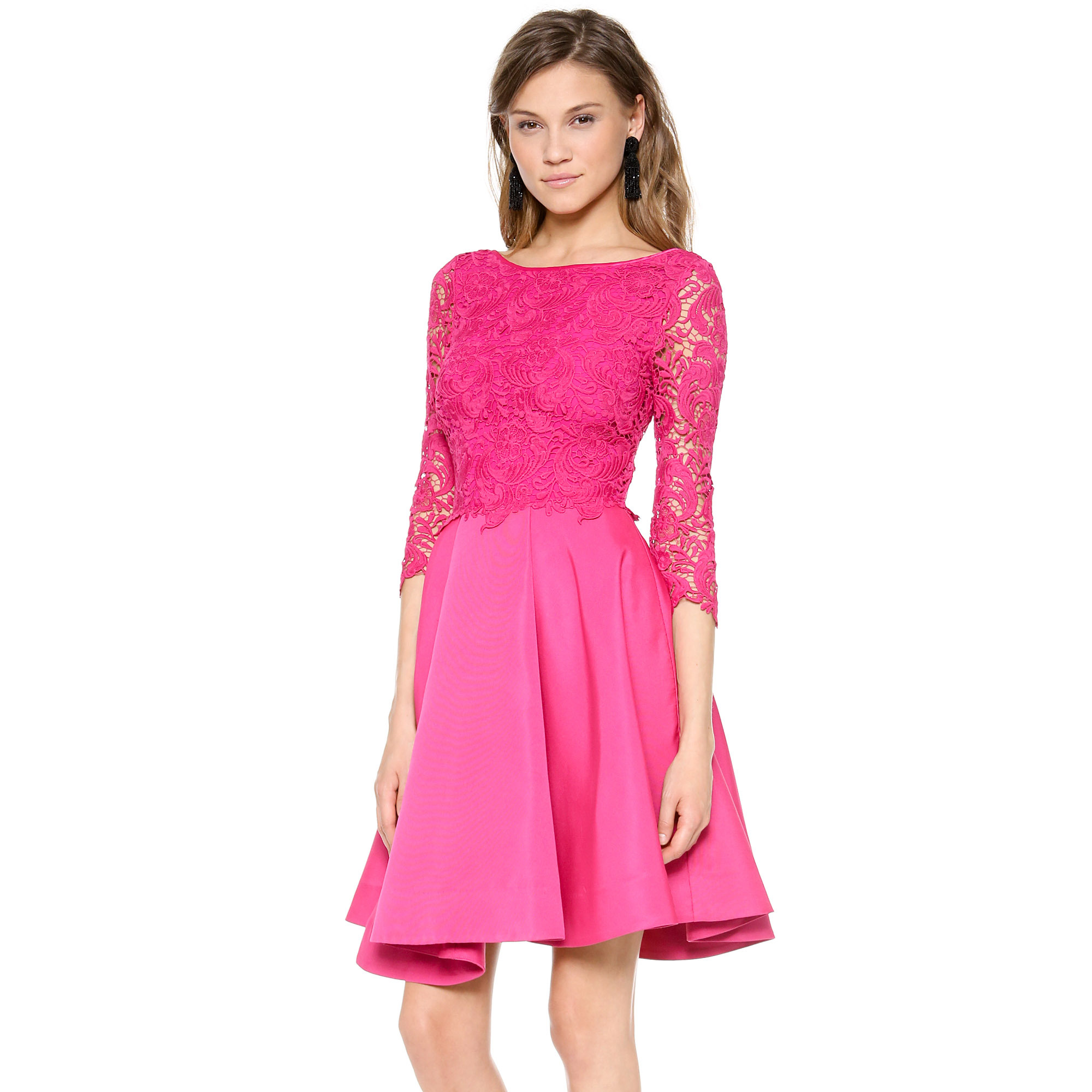 Aristocratic flavor grosgrain stitching exquisite tailoring convex transparent lace A- Sleeve Dress haoduoyi