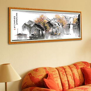 Since oil self-limited digital painting diy painting authentic Chinese style hand-painted living room landscape mural Jiangnan