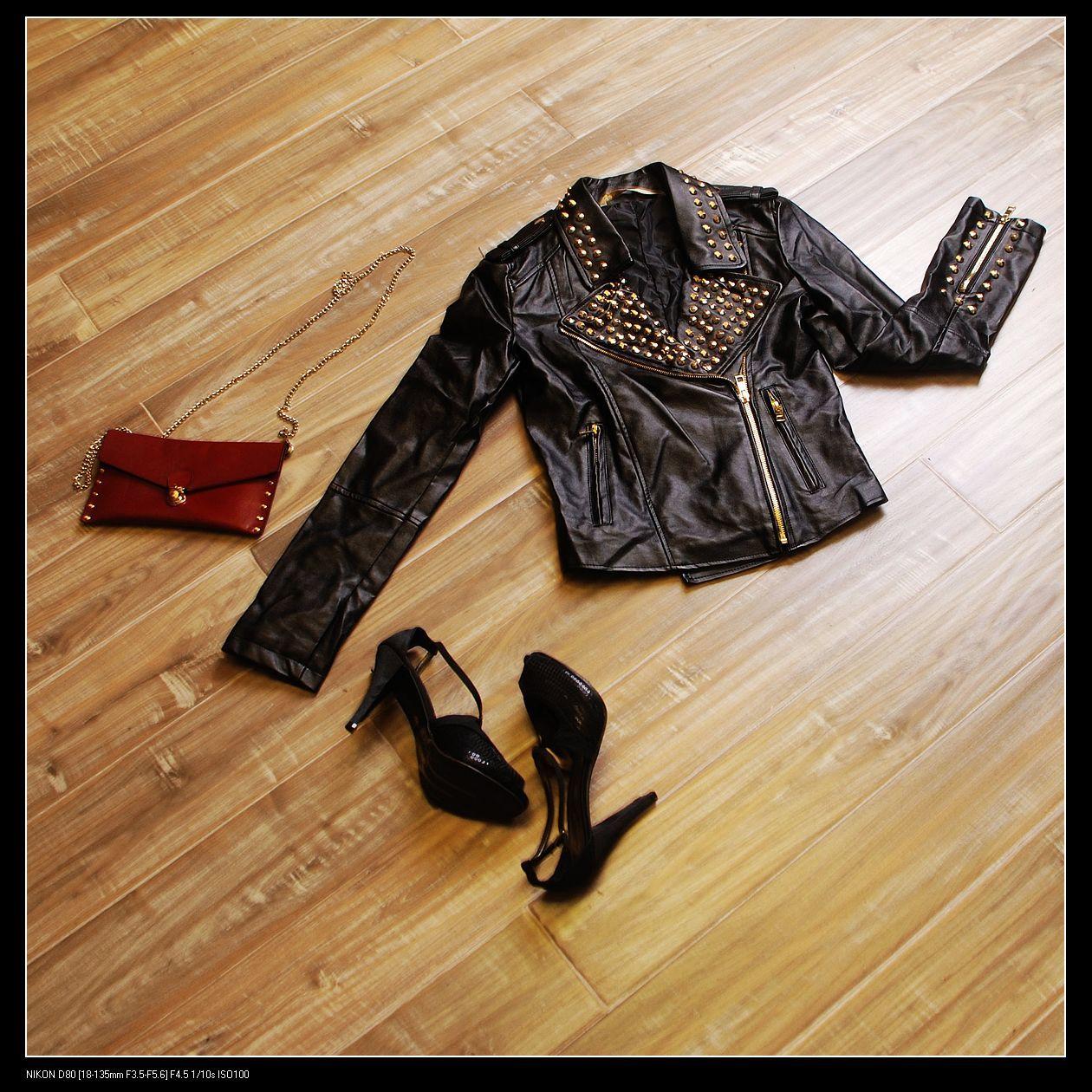 Кожаная куртка 2012 春秋女装新款 欧美修身嘻哈时尚摇滚黑色女装 皮衣