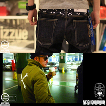 Chen WTAPS X NBHD neighborhood shawn yue embroidery cross-bones jeans trousers
