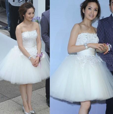 甜美公主蓬蓬裙摆 芭蕾裙伴娘礼服 姐妹装新娘结婚礼服 短款婚纱