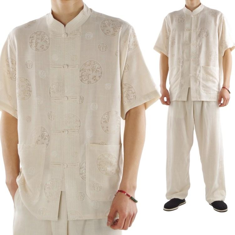 唐裝套裝棉麻中式短袖夏 中老年人男士民族服裝夏季裝圖片