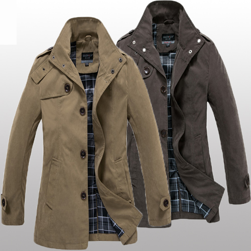 Journey to ancient spring and spring trench coat men s long collar fashion trench coat men of England in Korean