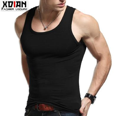 Continued tight spot shipping Korean tidal summer cotton men's vest men's undershirt male backing male sports and fitness