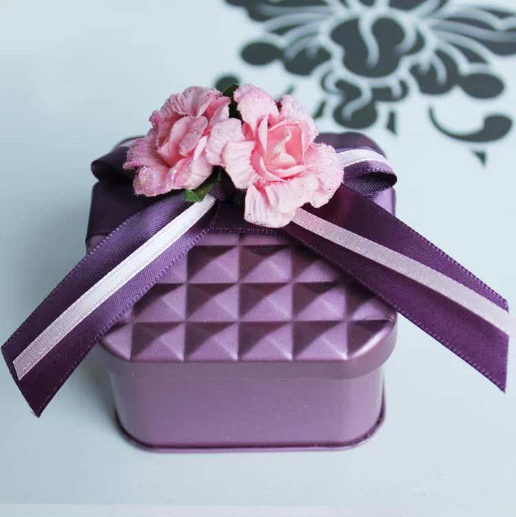 新款屋形 金属铁质 个性DIY 蝴蝶结丝带花朵 巧克力盒 喜糖盒W-3