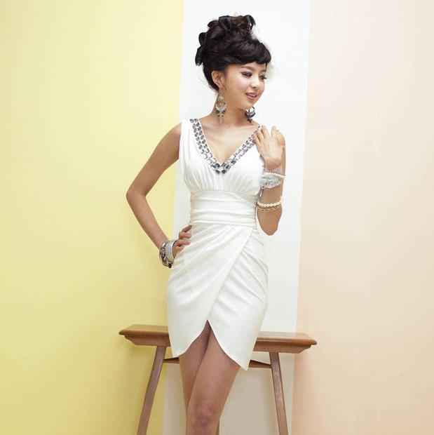 Вечернее платье 2012 Корейский платье купить свадебные хостов на вечер клуб мини-платье Средней длины (76-90см)