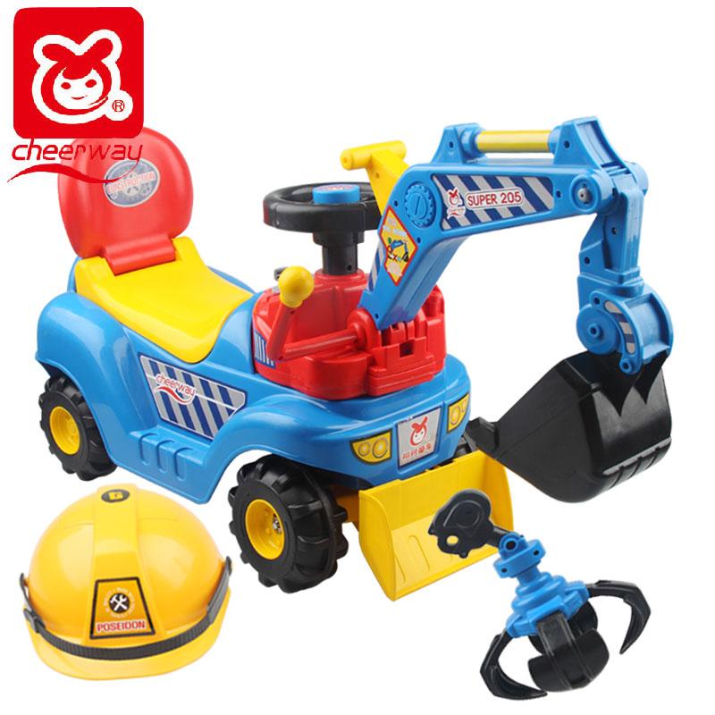 祺月大号 挖土机可坐可骑 挖掘机 儿童音乐玩具车脚踏四轮工程车
