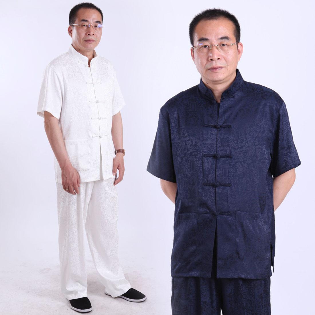 fanz 男士夏季套裝中年唐裝男短袖古裝中老年民族風爸爸裝龍整套圖片