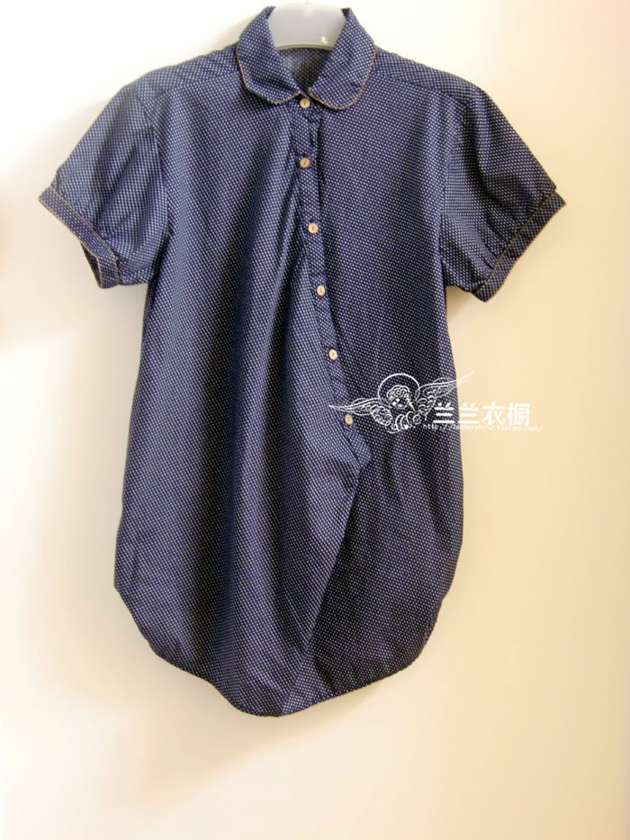 женская рубашка Специальные Горячие z ** в темно синий случайный короткий рукав для длительного Другой стиль Короткий рукав В горошек