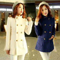 2014春装新款 薄款韩版毛呢外套呢子大衣新款女装双排扣呢外套