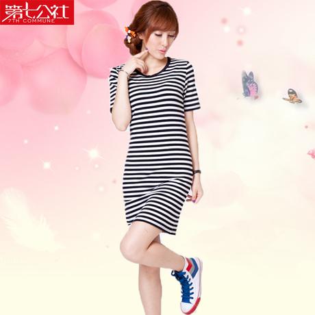 夏装2014条纹纯棉裙子黑白学生气质韩版中长女孩吃饭女生图片