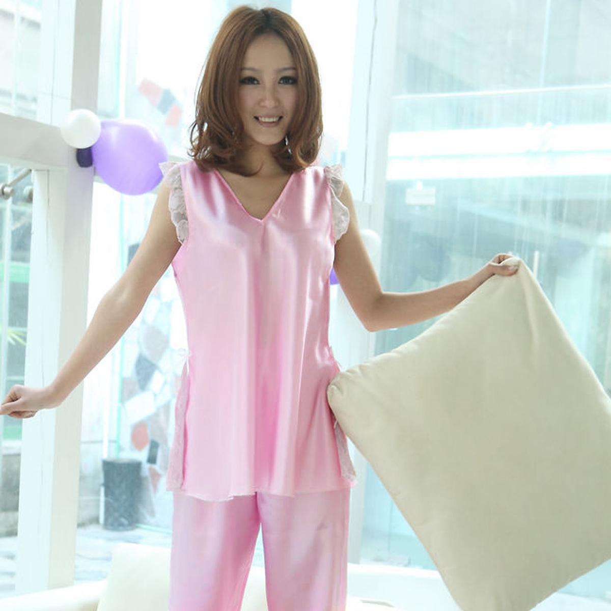Пижама Meng/yue Lin 2013 Имитация натурального шёлка Однотонный цвет Манжеты Для отдыха дома Жен.