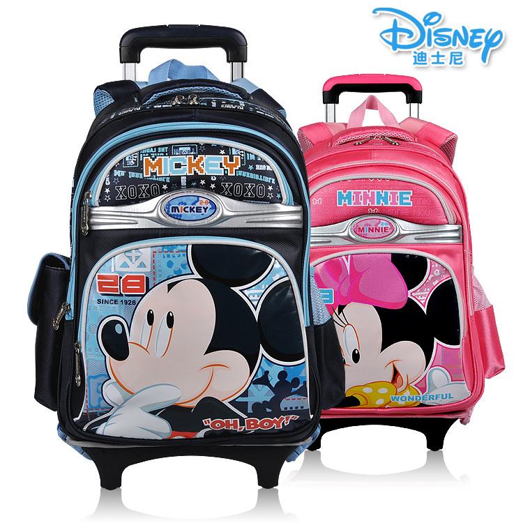 正品迪士尼可拆卸合金拉杆书包男女中小学生书包带防雨罩双肩书包