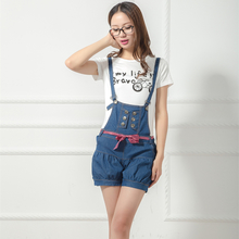 Han edition lantern jeans lovely bowknot belt strap connected the new tide fashion loose straps shorts