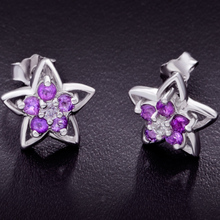 5 points of natural amethyst earrings flower earrings s925 pure silver earrings amethyst quality goods, Japan and South Korea version of cute
