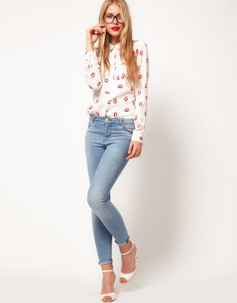 женская рубашка 2012 ASOS Городской стиль Длинный рукав Разный дизайн Набивка и крашение Отложной воротник
