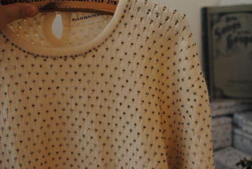 Свитер женский Продано vintage (Винтаж) Гу товаров Гонконга происхождения, ретро свитер ручной бисером Разное