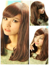 Transsexuals wig female hair pear flower head set jiafa inclined bang drag long round face