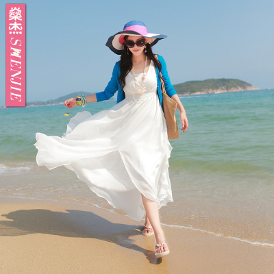 Shen Jie 2014 new bohemian beach dress chiffon dress summer seaside resort big swing dress child