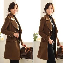 韩版新品秋冬双排扣毛呢大衣修身大码外套