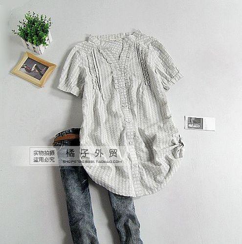 женская рубашка Городской стиль Короткий рукав В клетку V-образный вырез