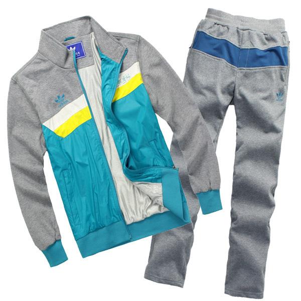 Спортивный костюм Adidas 980/5019 Для мужчин Длинные рукава (рукава ≧ 58см) Воротник-стойка Брюки ( длинные ) Для спорта и отдыха Контрастные цвета, Логотип бренда, Вышивка