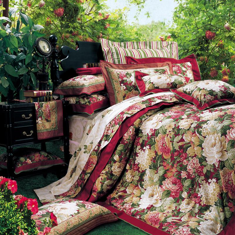 富安娜家纺 正品 婚庆 床上用品 全棉 印花 四件套 塞纳舞曲 特