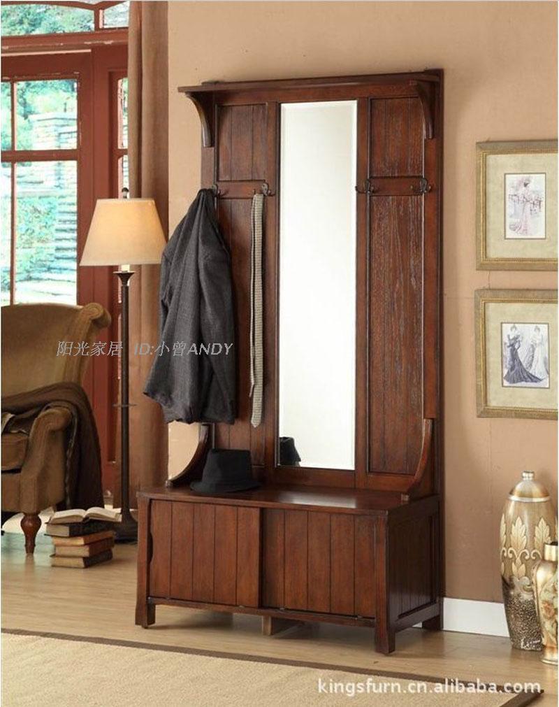 美式实木家具红橡木柞木实木鞋柜门厅柜衣帽架穿衣镜子换鞋凳镜子图片