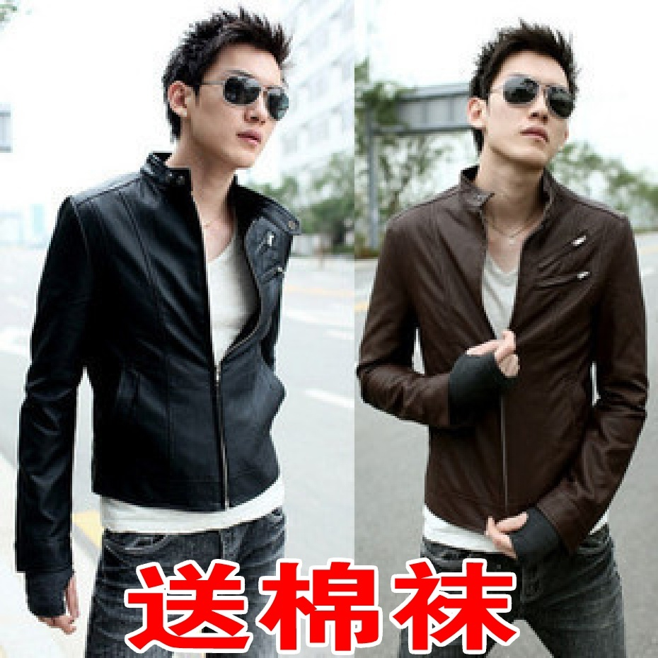 2013 spring loaded new hot Korean jacket men s collar-cultivating casual leather men leather jacket men's locomotive