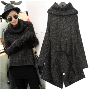 Europe and  new set of winter clothing irregular head of brought bats sleeve sweater paragraph sweater
