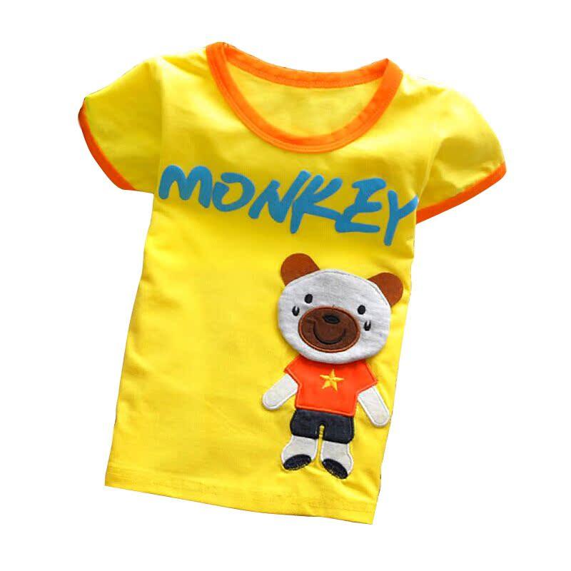 2014夏装韩版新款小熊款男童女童装宝宝儿童短袖T恤纯棉T恤花色