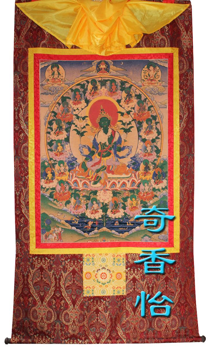 Религиозная тханка Пакет почты Prader Thangka портрет/21 21 Tara Tara Зеленая Тара/рука монтируется труба 65 * 55