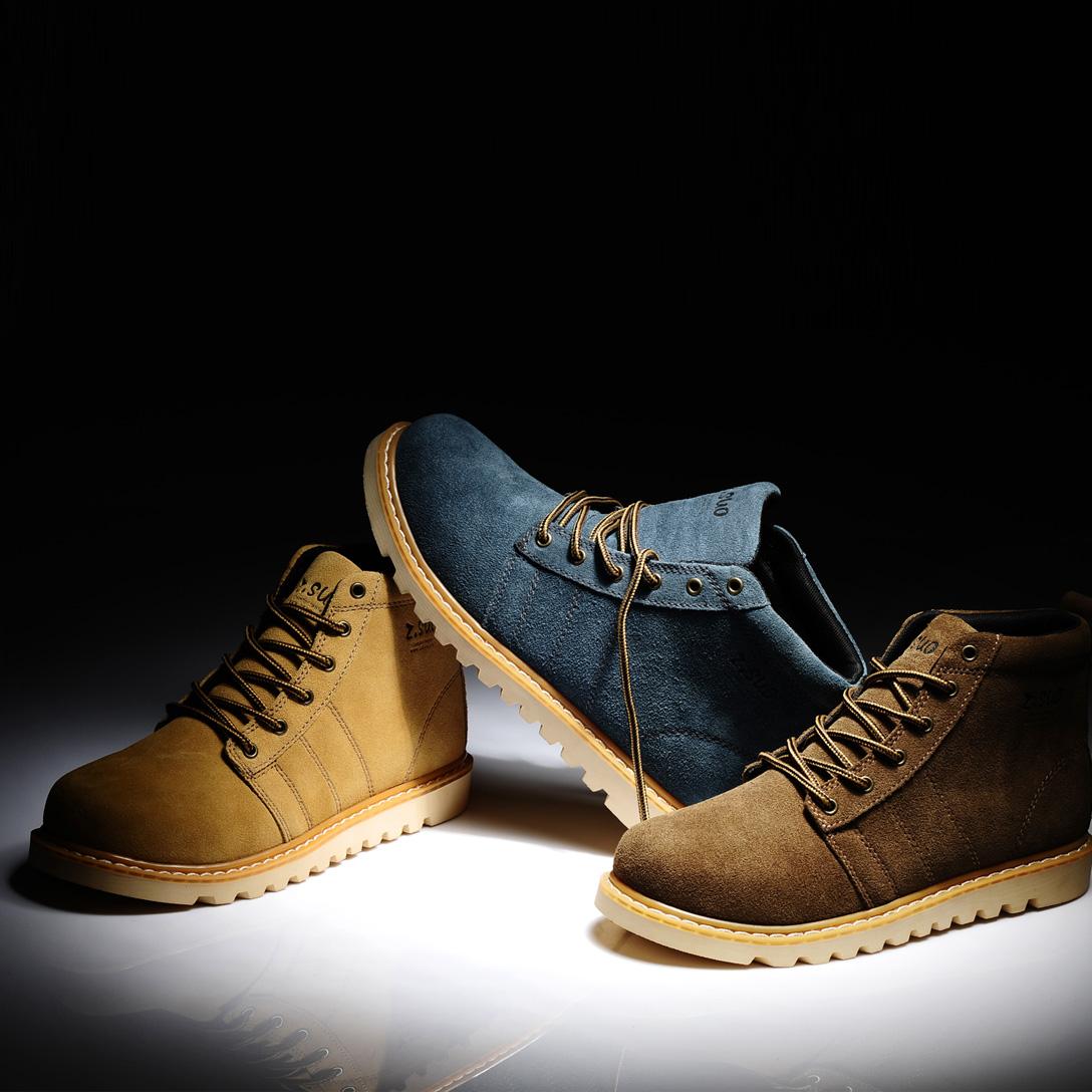 Ботинки мужские 108 1108 Для отдыха Круглый носок Двухслойная натуральная кожа Замша Зима