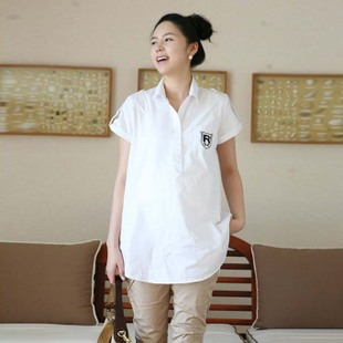 Add your maternity dresses summer collar shirt with embroidered Korean women fashion women shirts clothing