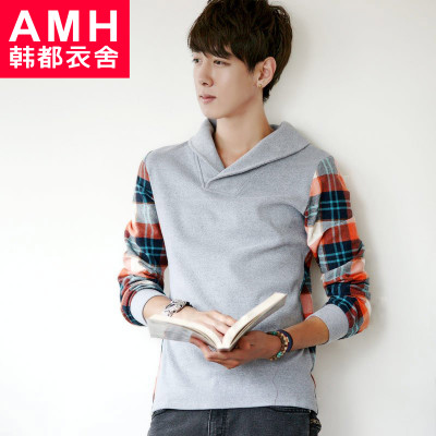 AMH Men's 2015 spring new Korean wild lapel stitching men's plaid long-sleeved T-shirt NX2164 Xie