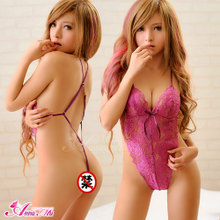 ANNA MU lingerie female temptation of bud silk pajama jumpsuit Transparent dew milk tease jumpsuits summer