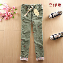 The new spring and summer, female literary Fan Xiaoxiong embroidery show thin leisure trousers School wear school wind pants