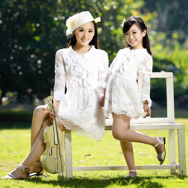 2014新款亲子装夏装_亲子装 母女装裙子春装夏装2014新款中大童装女童韩版白色 连衣裙