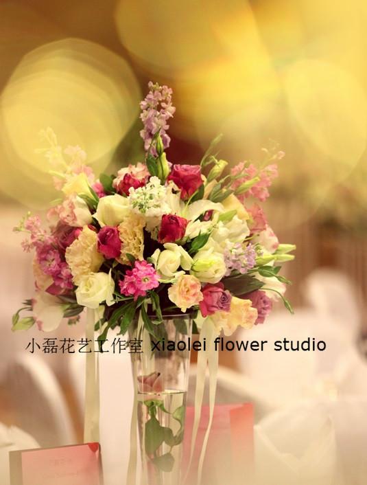 北京婚礼花艺布置 玫瑰 紫罗兰 鲜花 主桌花 婚礼