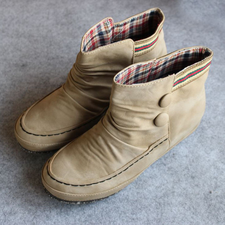 Круглый носок Плоская подошва Без шнуровки Плоская подошва Клееная обувь Однотонный цвет