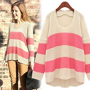 Korea purchasing genuine 2012 spring clothing women's CONTRAST COLOR stripes relaxed leisure in Europe and increase code head knit shirts