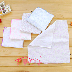Baby-friendly cottage 34*34cm cartoon three layers of cotton gauze handkerchief WS009