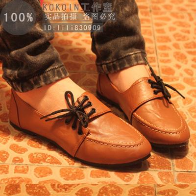 туфли Осенью 2012 новые Новый корейский случайные круглые головки с низким вырезать женщин квартира каблуках моды обувь Плоская подошва Мягкая кожа Искусственная кожа